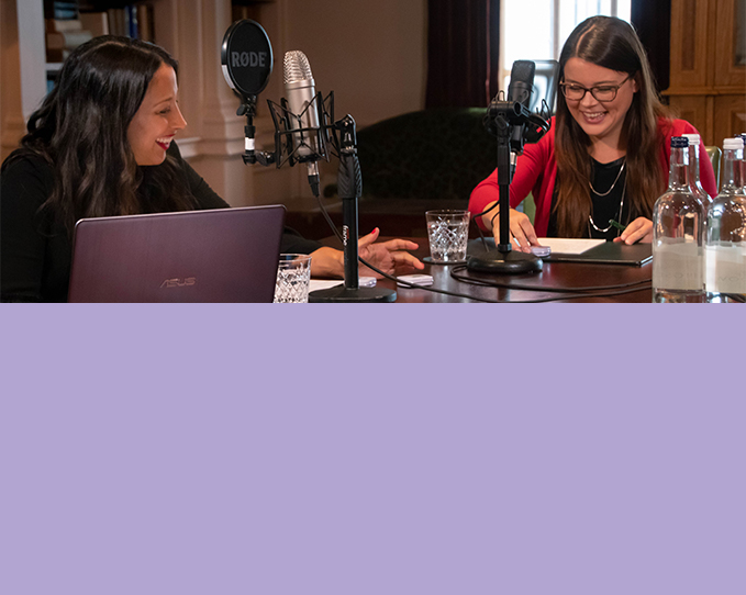 Two ladies, including Live Groups Senior Account Manager, Chantal, enjoying a conversation recording a podcast.