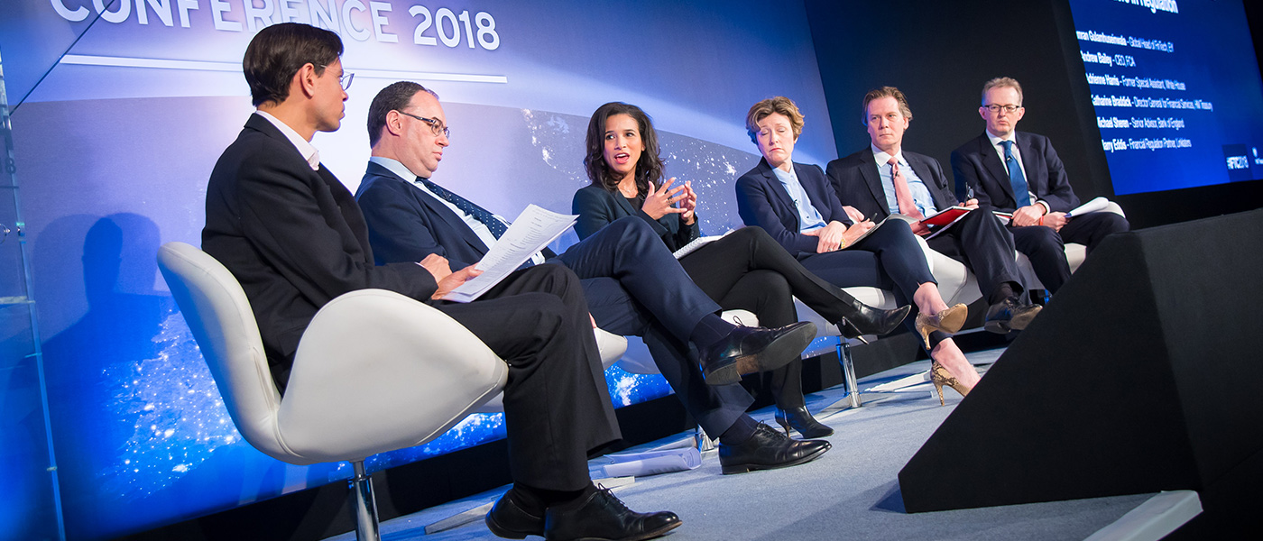 A panel on stage having an interesting conversation at the UK Government International FinTech Conference.