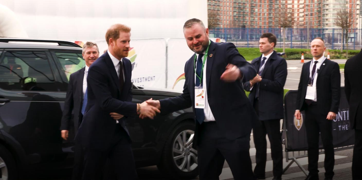 Prince Harry shaking hands with a male, upon his arrival at the UK Africa Investment Summit 2020.