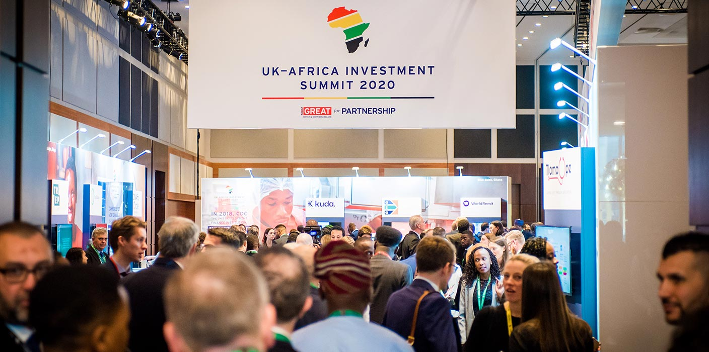 A large number of delegates looking engaged in the exhibition hub at the UK Africa Investment Summit 2020.